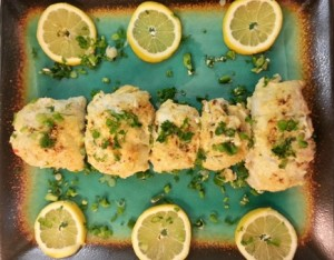 Sole fish stuffed with crabmeat