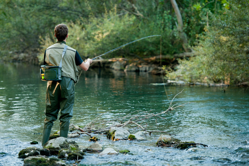 Fly fisherman on a river