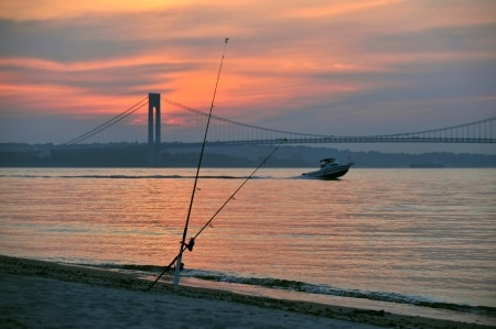 fishing the Hudson River at sunset