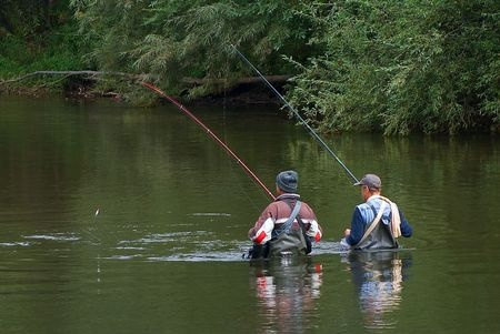 Two Fisherman in Michigan river
