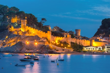 Fortress and fishing boats Costa Brava, Catalunya, Spain