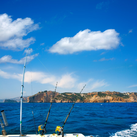 trolling fishing boat in cabo de la nao (cap de la nau) gulf of valencia, spain