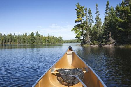 fishing northern minnesota lake in canoe