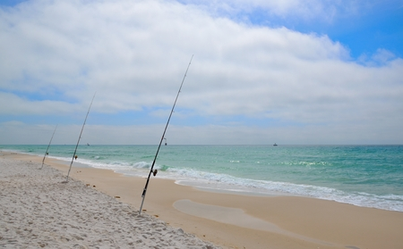 surf fishing on florida beach - gulf coast