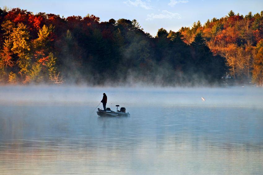lake bass fishing in autumn