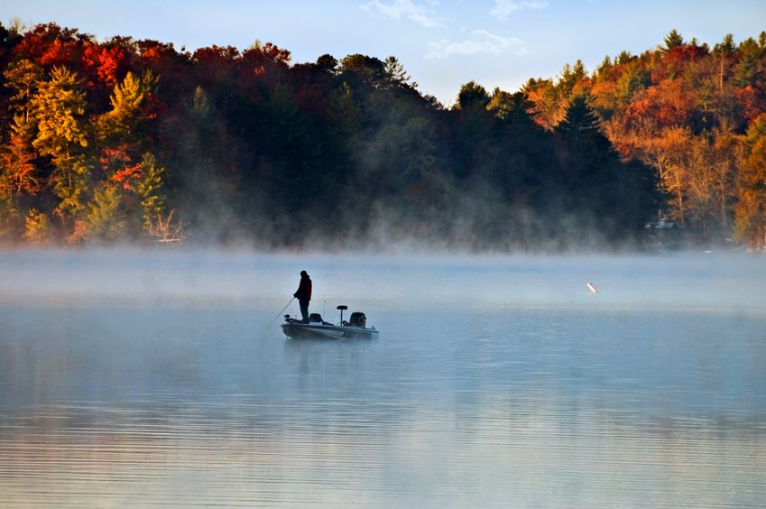 lake bass fishing in autumn