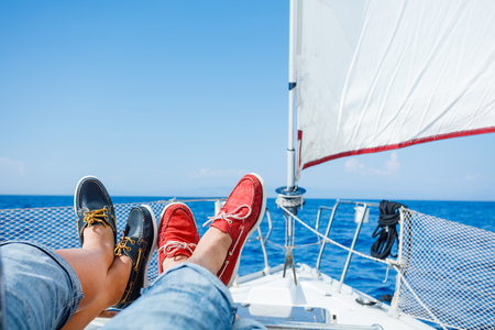blue and red boat shoes