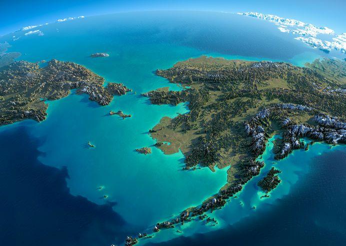Satellite view of bristol bay alaska