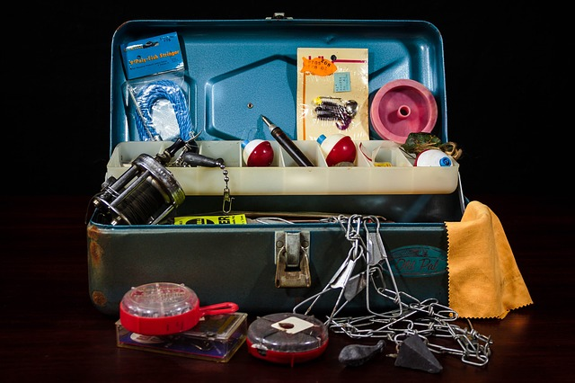 vintage metal tackle box