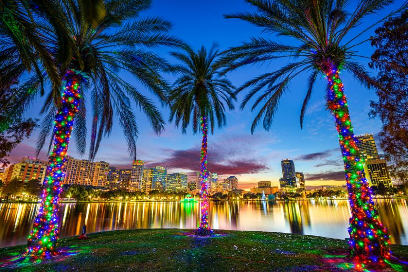 downtown orlando viewed from lake eola
