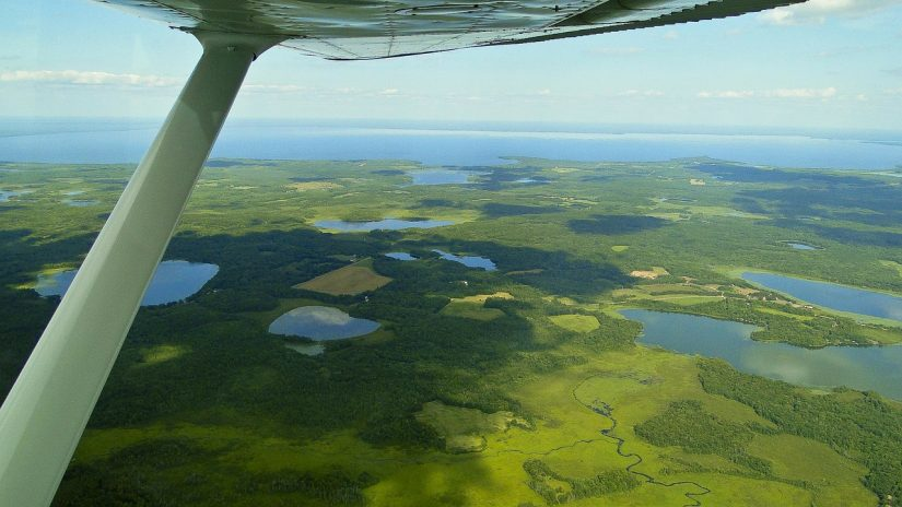 mille lacs musky fishing - aerial view of lake