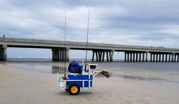 surf fishing wagon on beach