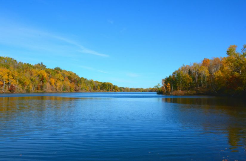 autumn muskie fishing on minnesota lake