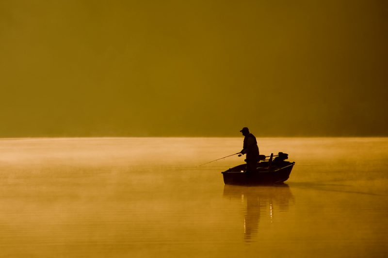 angler fishing on the lake