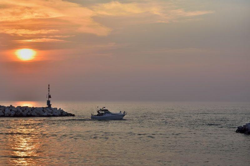 Early Morning Fishing on Winthrop Harbor Illinois Lake Michigan