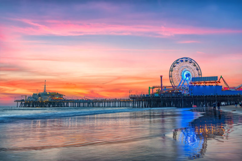 fishing the santa monica pier at sunset