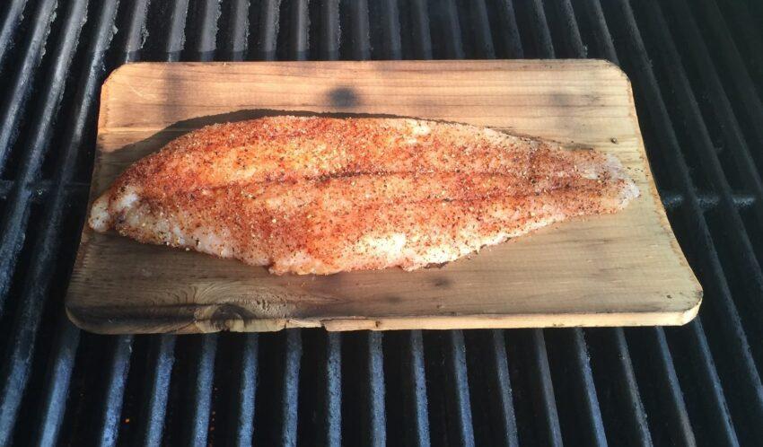 catfish on cedar plank in grill