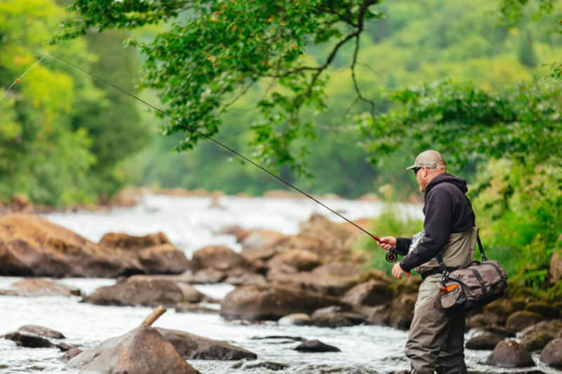 fly angler trout fishing in river-stream