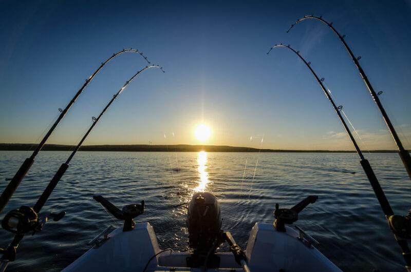trolling trout lake at sunset