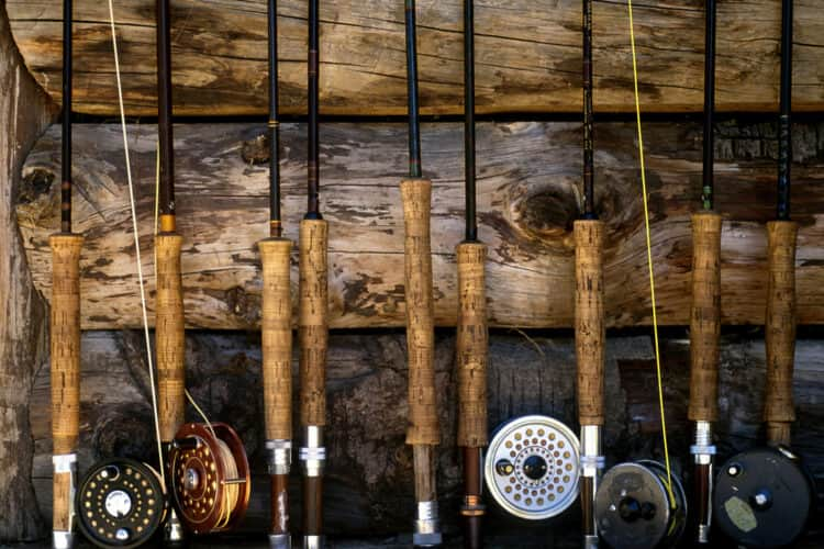 various weight fly rods against wall