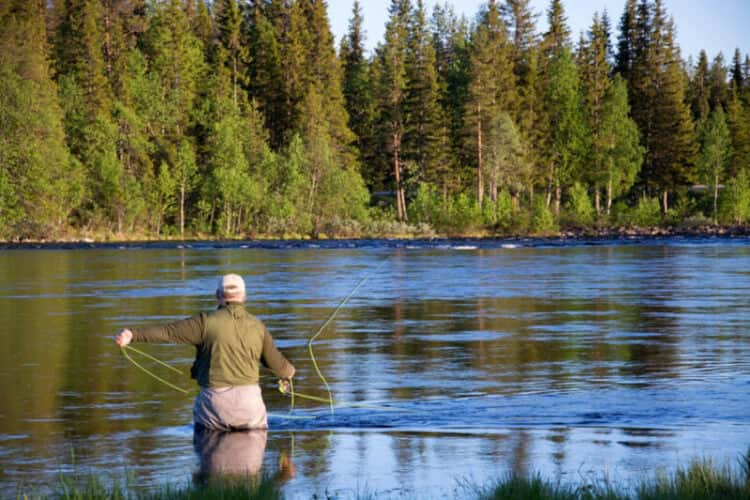 fly fisherman trying out fly rod combo