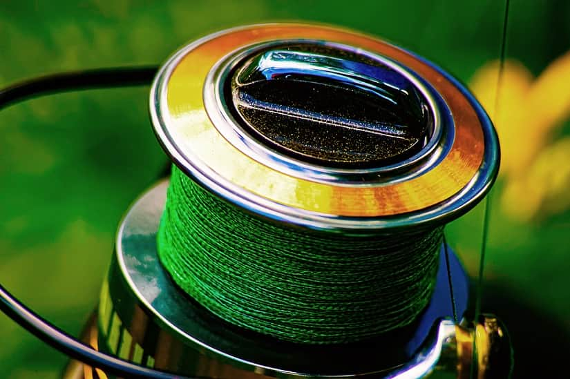 green braided fishing line on spinning reel